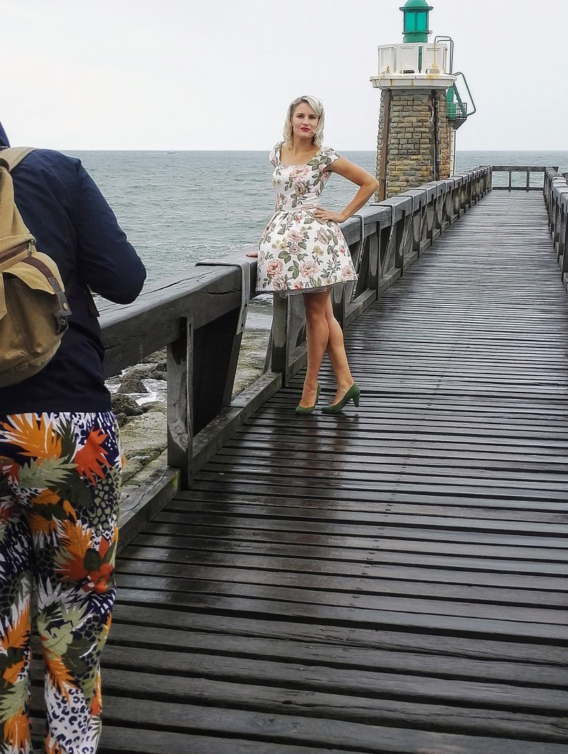 Pin up style fit and flare dress for magazine shoot