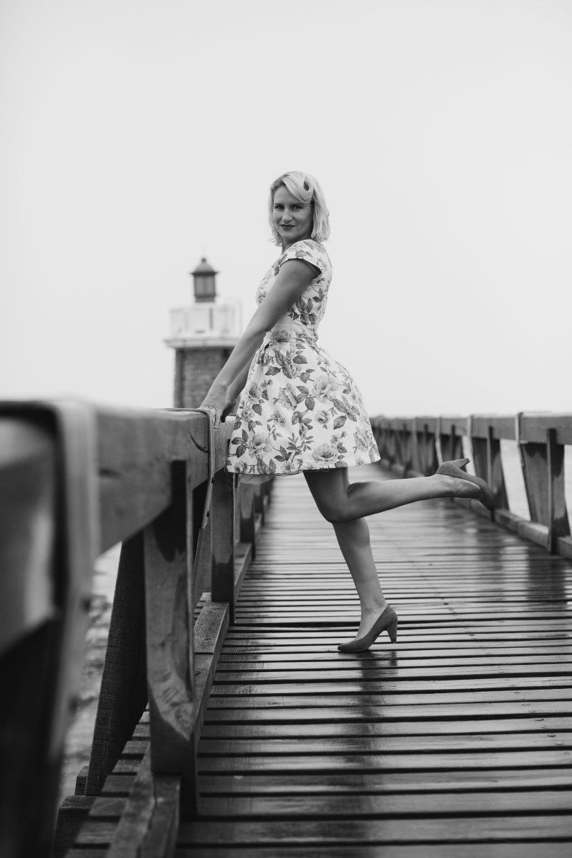 Retro style tea dress, fit and flare dress made to order. Magazine shoot