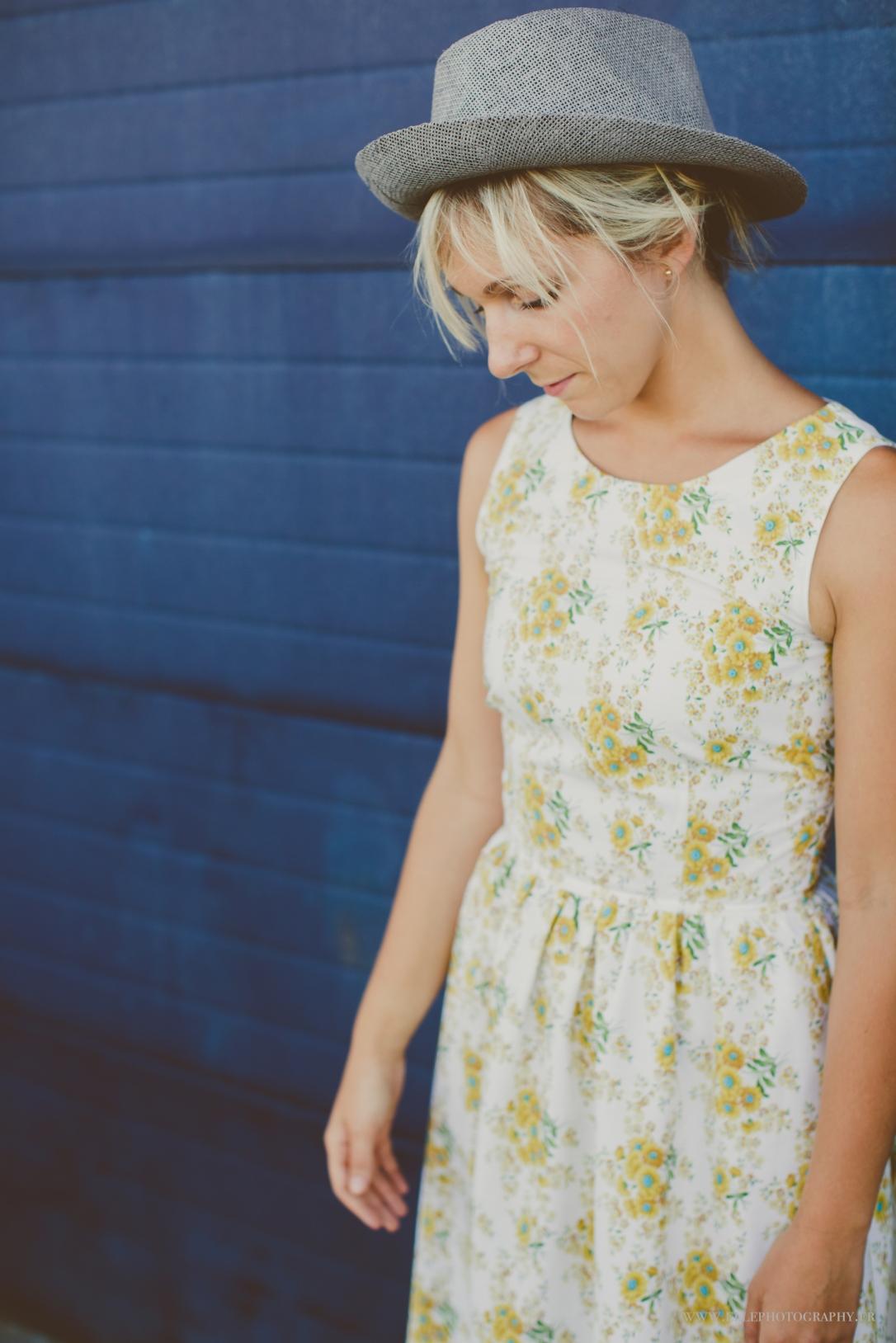 tea dress in vintage fabric