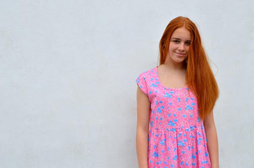 summer smock dress in vintage fabric