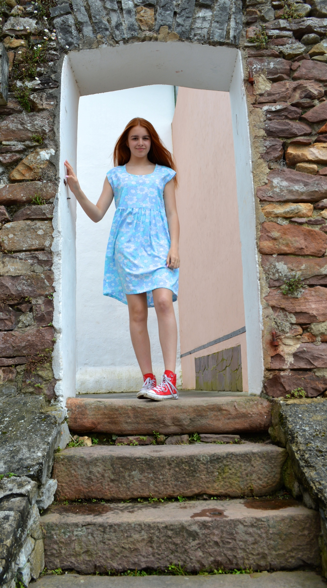 smock dress in vintage fabric