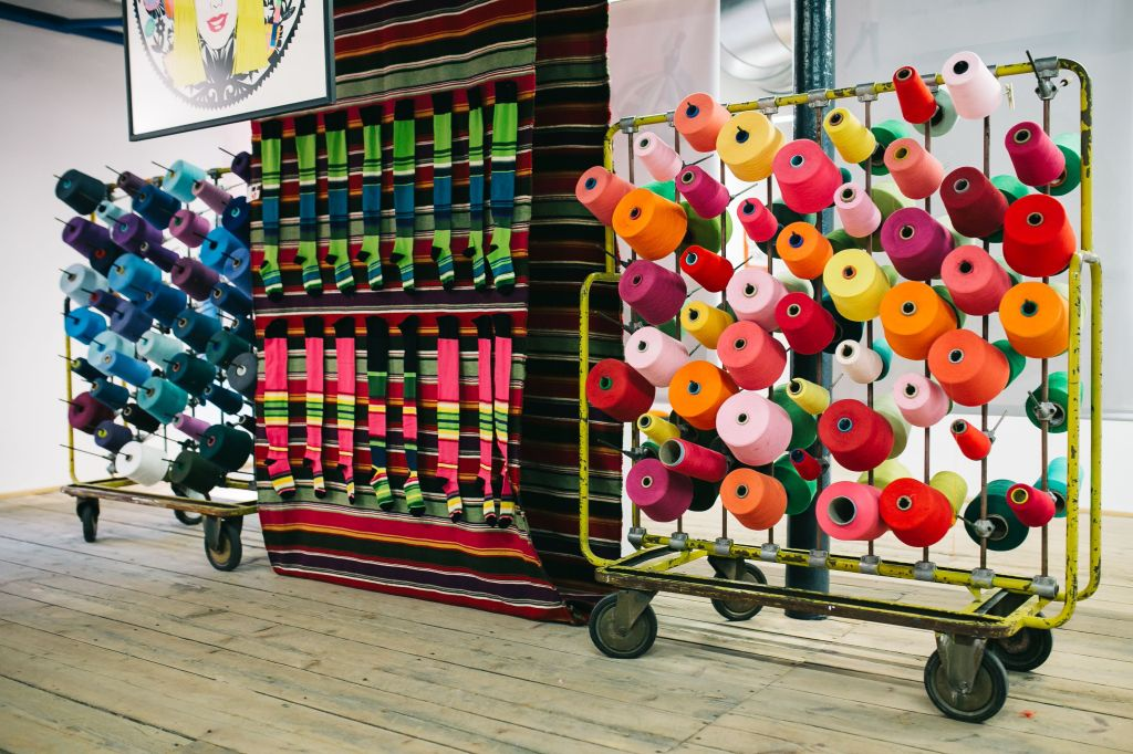 Colourful reels of thread to make striped socks