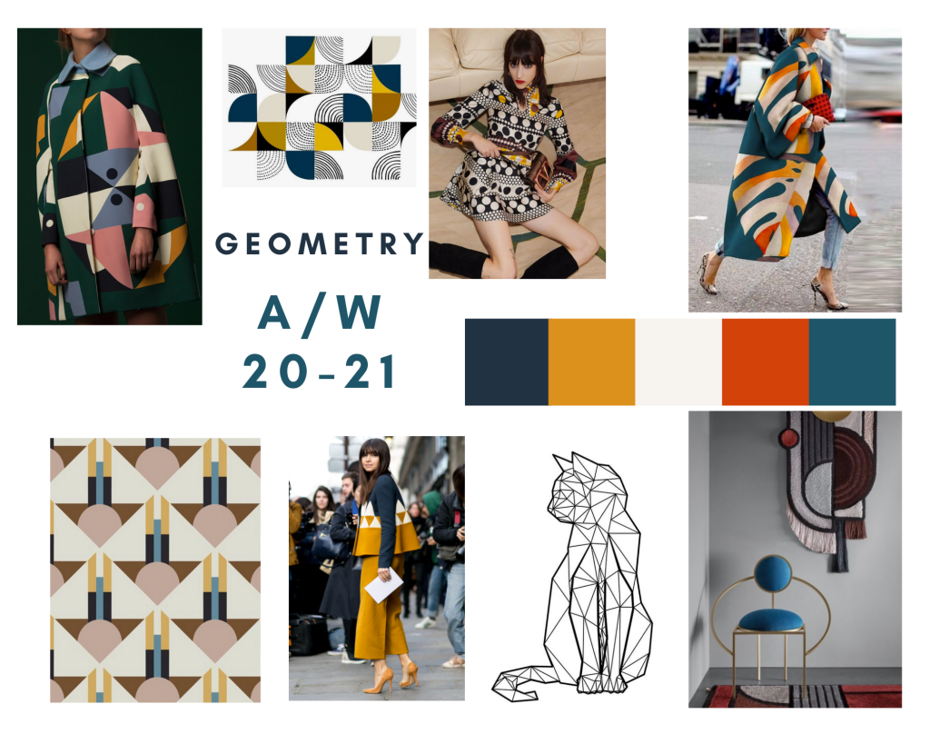 imagery of geometric clothing, furniture and art compiled into a mood board