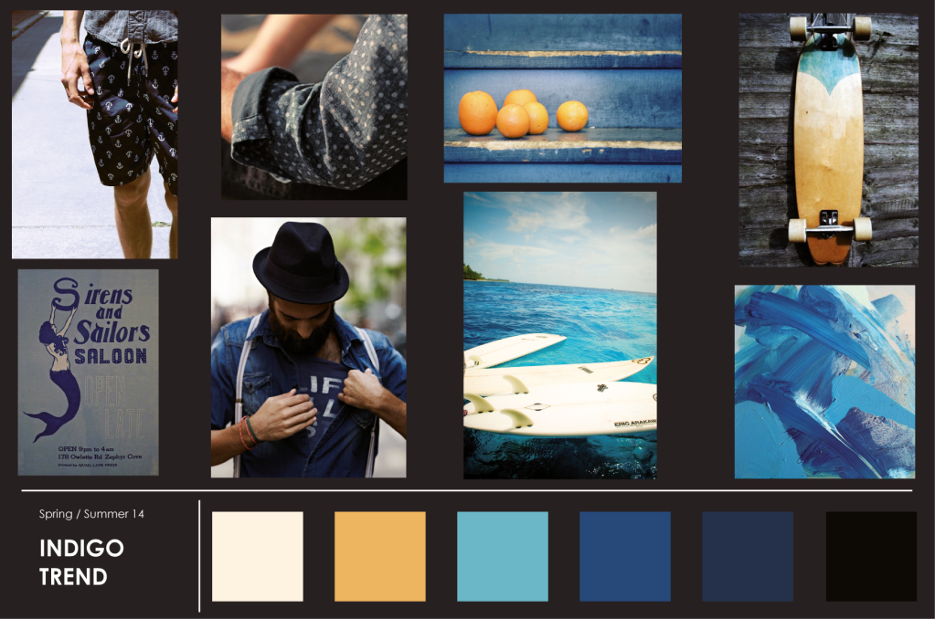 images in shades of blue, indigo and yellow on a visual trend board