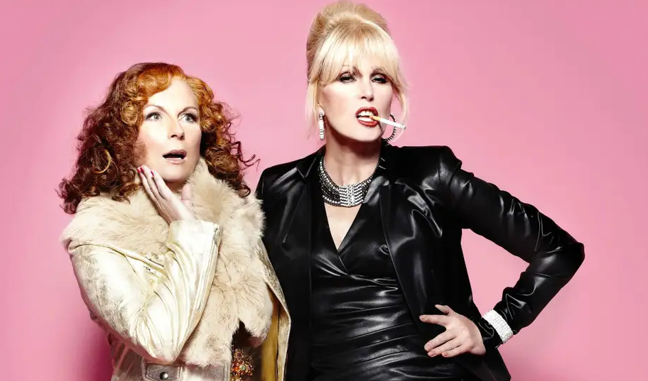 Edina and Patsy from Absolutely Fabulous. patsy on the right has a cigarette in her mouth